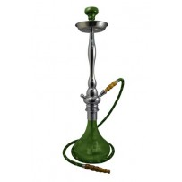 "Mya Hookah Astra 31"" Chrome w/carrying case set olive green."